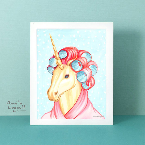 unicorn art print, unicorn decor, unicorn painting, unicorn art, amelie legault, gouache painting