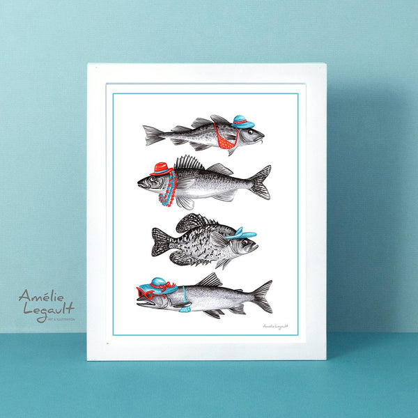 Dressed fish, Summer fish, fish art Print, fish drawing fish art work, canadian fish, amelie legault, made in canada, canadian artist