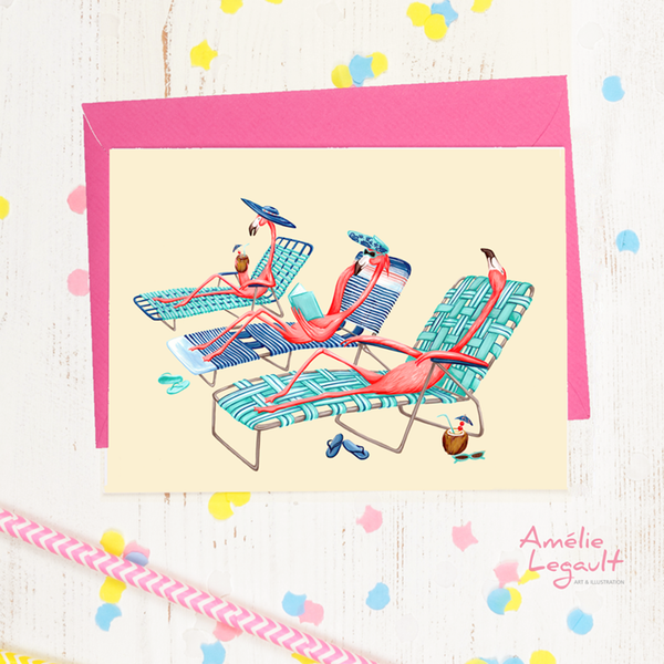 Pink flamingos, on the beach, birthday card, greeting card, vacation, amelie legault, lawn chairs