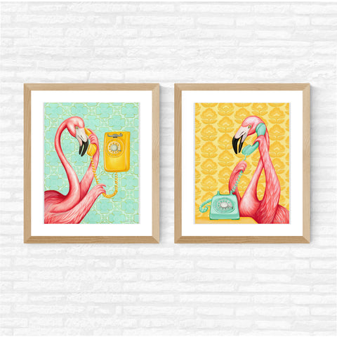 Pink flamingos on the phone, print set, painting