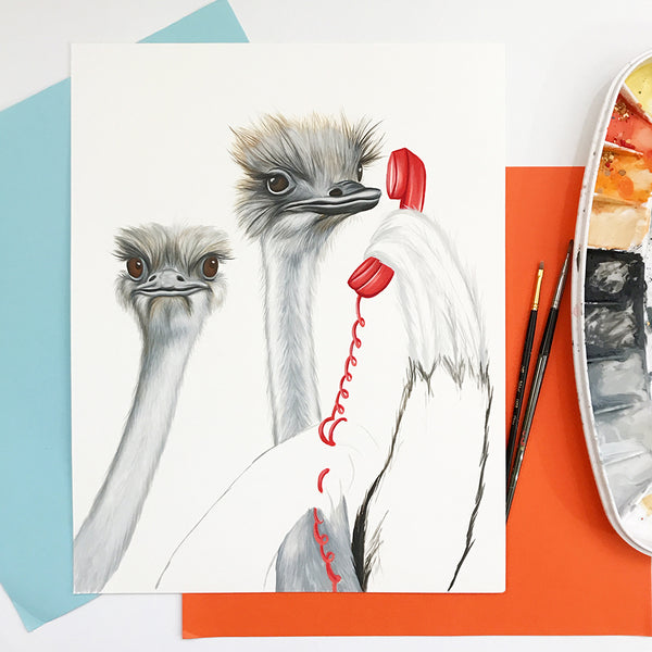 work in progress, gouache painting, wip, amelie legault, ostrich painting, ostrich art work, on the phone, vintage phone, home decor