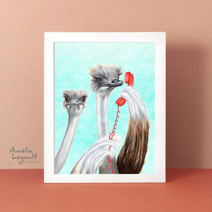 ostrich art work, ostrich ar print, ostrich painting, on the phone, vintage phone, amelie legault, ostriches feathers, canadian artist, canadian art, made in canada