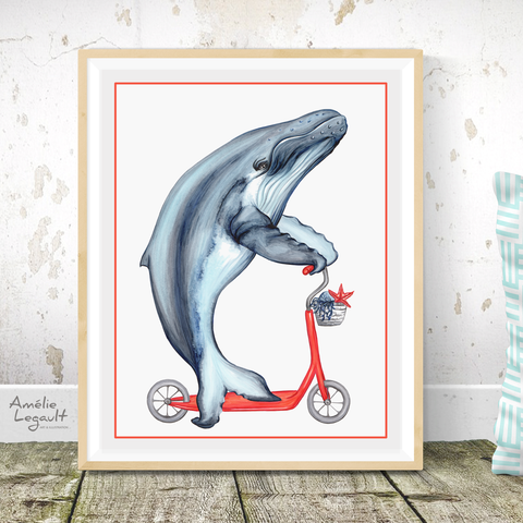 Whale on a scooter, art print, whale drawing, whale illustration, humpback whale, amélie legault, sea animal print, washroom decor, kid's room decor