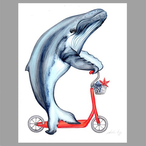 Whale illustration, scooter, Original Artwork, Amelie Legault
