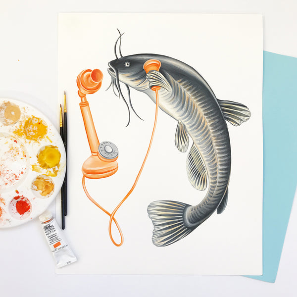 gouache painting, fish painting, bullhead painting, fish illustration, amelie legault