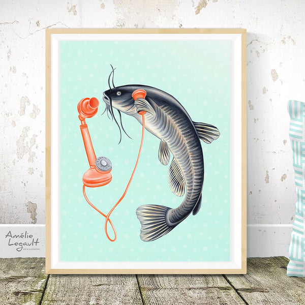 bullhead fish, fish illustration, fish painting, fish on the phone, gift of fisherman, fishing, canadian fish, canadian animal, amelie legault, canadian art, canadian artist, made in canada, art work, art print