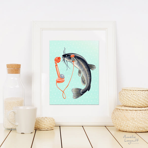 fish art print, fish painting, antique phone, phone illustration, amelie legault, home decor, kitchen decor