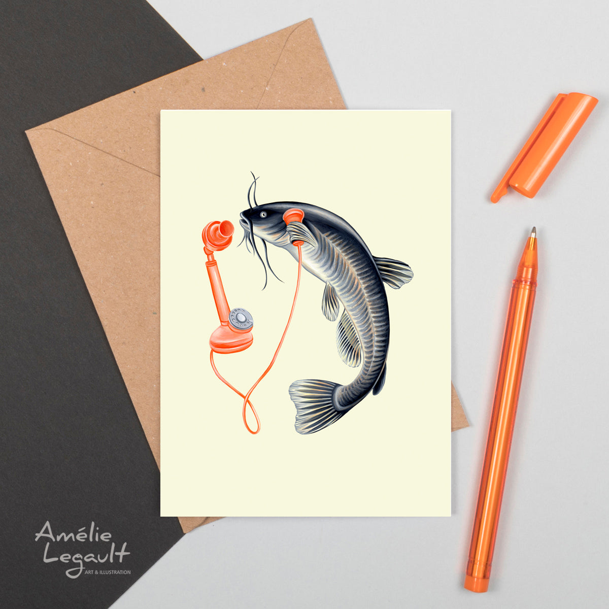 fish card, greeting card, birthday card, fish on the phone, amelielegault, hello, made in canada, canadian artist