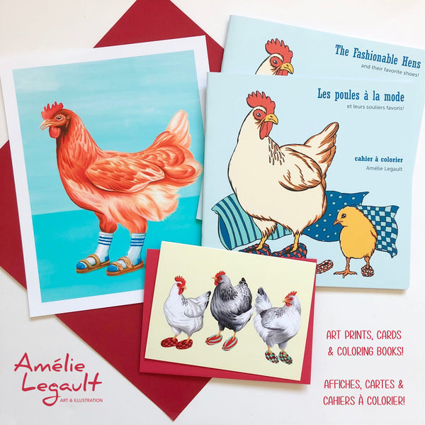 Amelie legault, art print, greeting cards, coloring books, affiche, cartes de souhaits, cahiers à colorier, livres pour enfants, children's books, autrice, illustratrice, artiste, artist, illustrator, author