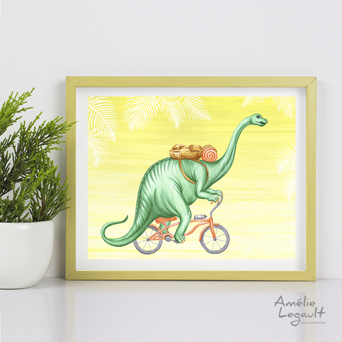 Dinosaur, Brontosaurus on bike, Print, Drawing
