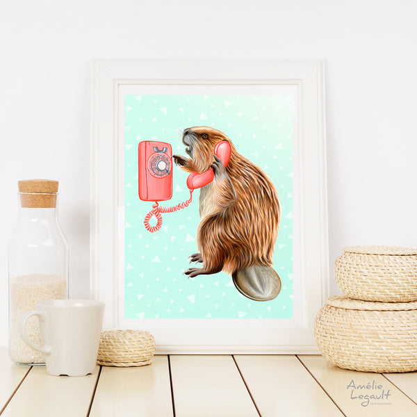 Beaver illustration, beaver art, canadian animal, canadian art, amelie legault, vintage phone, rotary phone, phone illustration, beaver on the phone
