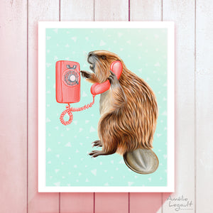 Beaver on the phone - art print