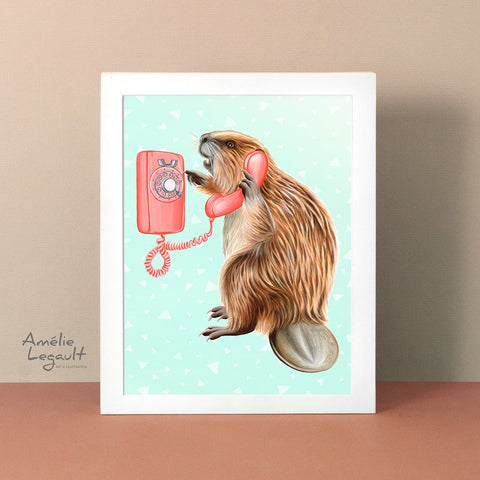 Beaver illustration, beaver art, phone illustration, wall phone, art print, amelie legault, canadian art, canadian animal