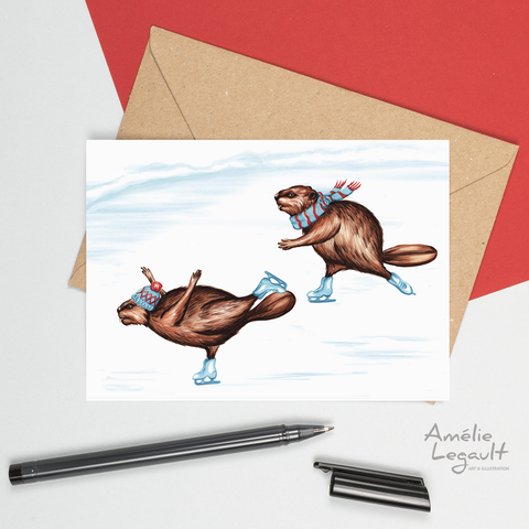 Ice skating beavers, card, drawing
