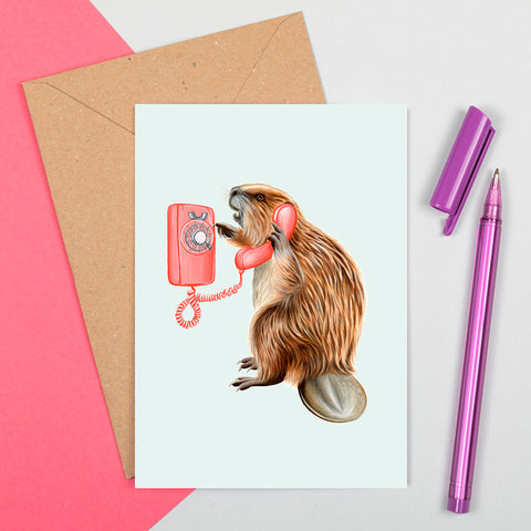 beaver card, birthday card, greeting card, beaver illustration, beaver on the phone, amelie legault, canadian animal, canadian artist, made in canada