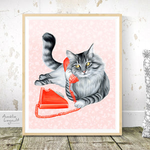 Cat on the phone - art print