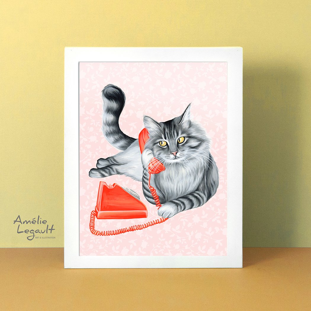 Cat on the phone, art print, cat illustration, cat painting, amelie legault, rotary phone, vintage phone, talking on the phone, gray cat