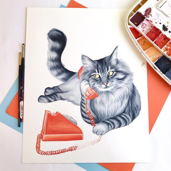 cat painting, cat illustration, cat lover, cat lady, cat on the phone, vintage phone, rotary phone, amélie legault, phone painting, canadian artist, made in canada