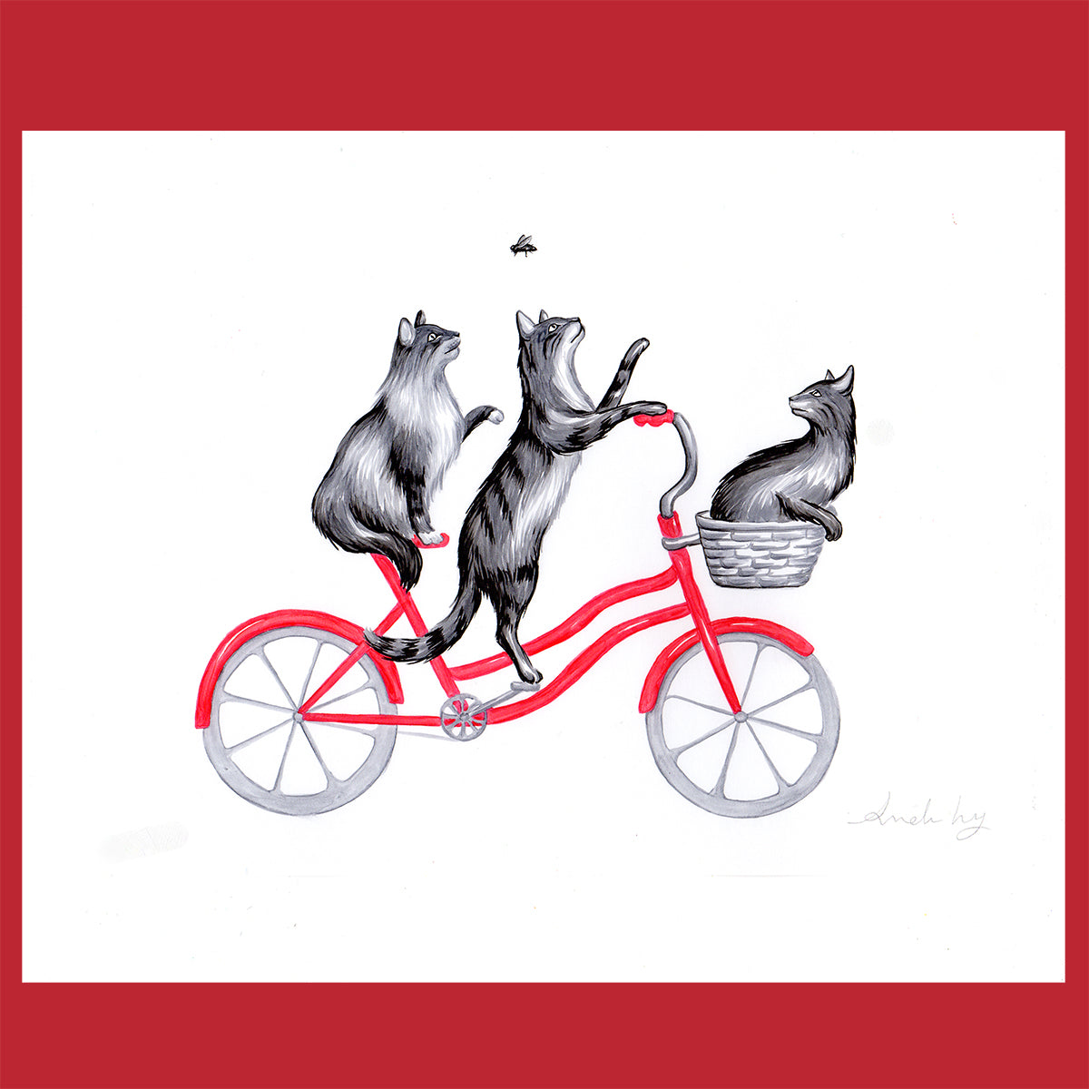 Cats on a bike - Original Artwork, cat illustation, Amelie Legault