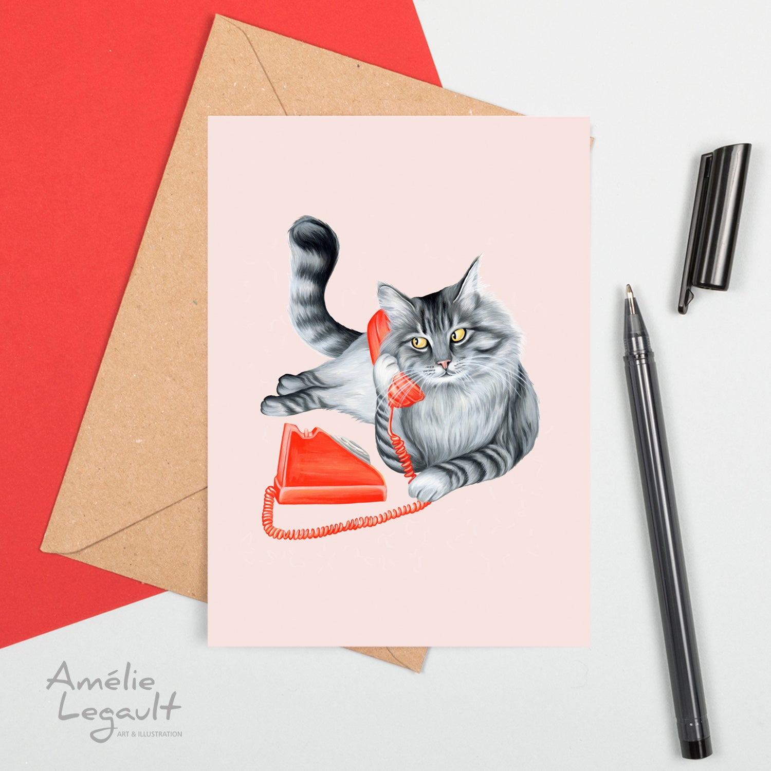 cat on the phone, cat illustration, cat lover, cat lady, vintage phone, greeting card, birthday card, amelie legault