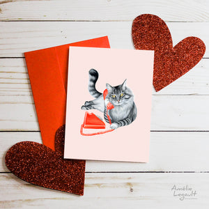 Valentine's day card, hello i love you, carte st-valentin, allo je t'aime, amélie legault, cat, chat, téléphone, phone