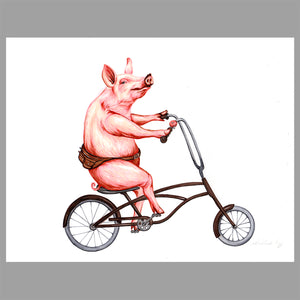 Pig on a bike, Illustration, Original Artwork, Amelie Legault