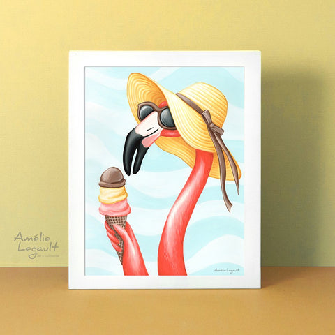 Pink flamingo, ice cream cone, art print, flamingo art, flamingo love, flamingo decor, flamingo illustration, amelie legault, ice cream illustration
