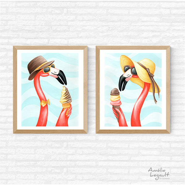 Pink Flamingo art print set, ice cream art print set, amelie legault