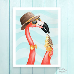 Pink flamingo illustration, with ice cream cone
