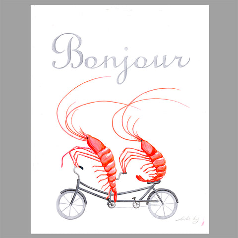 Shrimps on a tandem bike - Original work - Illustration- Amelie Legault