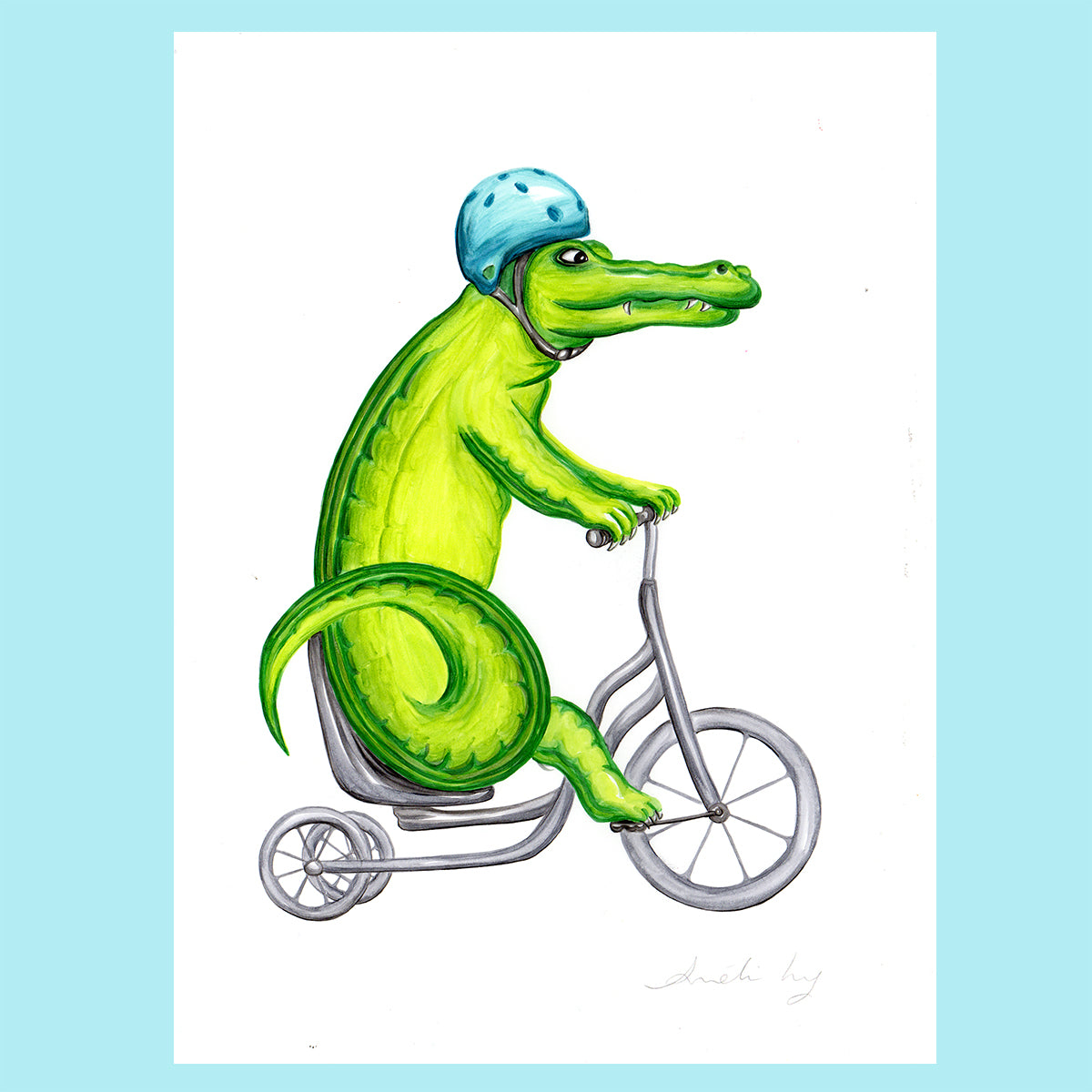 Crocodile on a bike - Original Artwork, Crocodile illustration, Amelie Legault