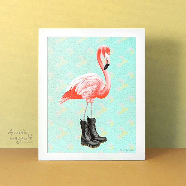 Pink Flamingo, Doc Martens boots, art print, home decor, flamingo art, flamingo love, flamingo decor, flamingo illustration, doc martens art, doc martens illustration, amelie legault
