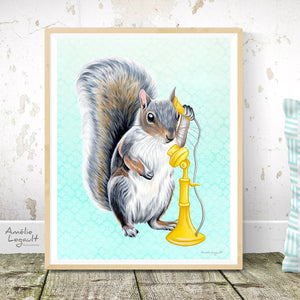 Squirrel on the phone, art print, squirrel illustration, squirrel art, squirrel painting, canadian animal, canadian artist, amelie legault, antique phone, yellow phone, phone illustration, phone art