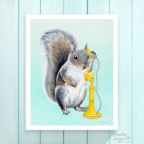 Squirrel illustration, Amelie Legault, squirrel on the phone, talking on the phone, phone illustration, vintage phone, retro phone, squirrel art