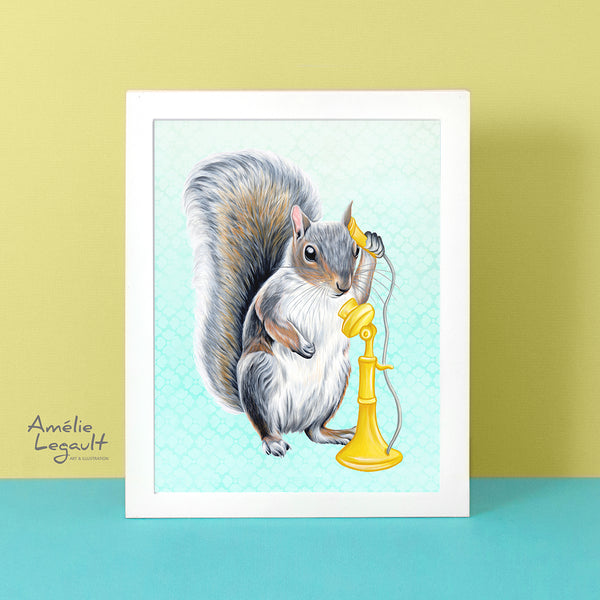 squirrle art print, squirrel art work, squirrel on the phone, amelie legault, canadian artist, canadian animal, made in canada, fait au québec