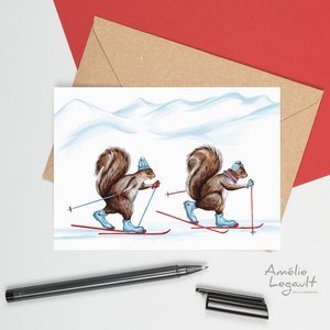 Cross-Country skiing squirrels, card, drawing