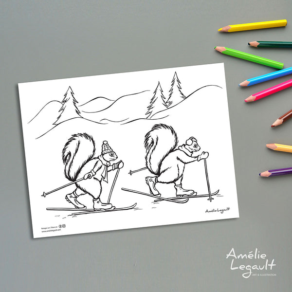 illustration d'écureuil, écureuil en ski, ski de fond, sport d'hiver, amelie legault, coloriage, image à colorier, coloriage gratuit, coloriage d'hiver, coloriage de noël, holiday coloring, christmas coloring, coloring page, squirrel illustration, squirrel coloring, made in canada, canadian artist, fait au québec, cross-country skiing