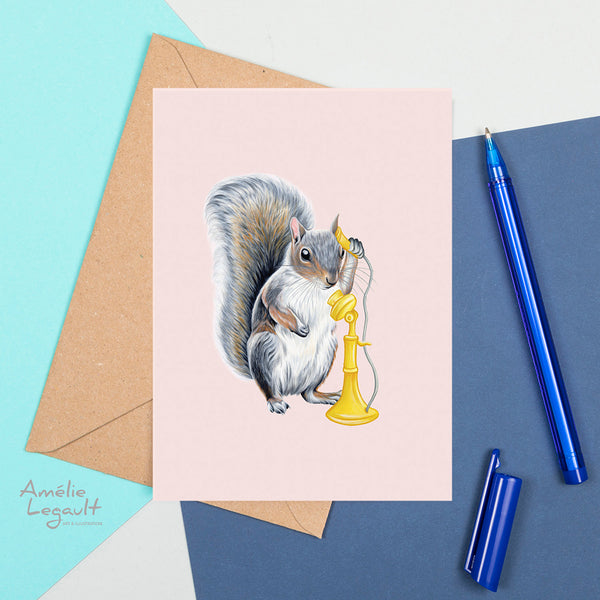 squirrel on the phone, squirrel card, birthday card, greeting card, amelie legault, canadian animal, made in canada, vintage phone