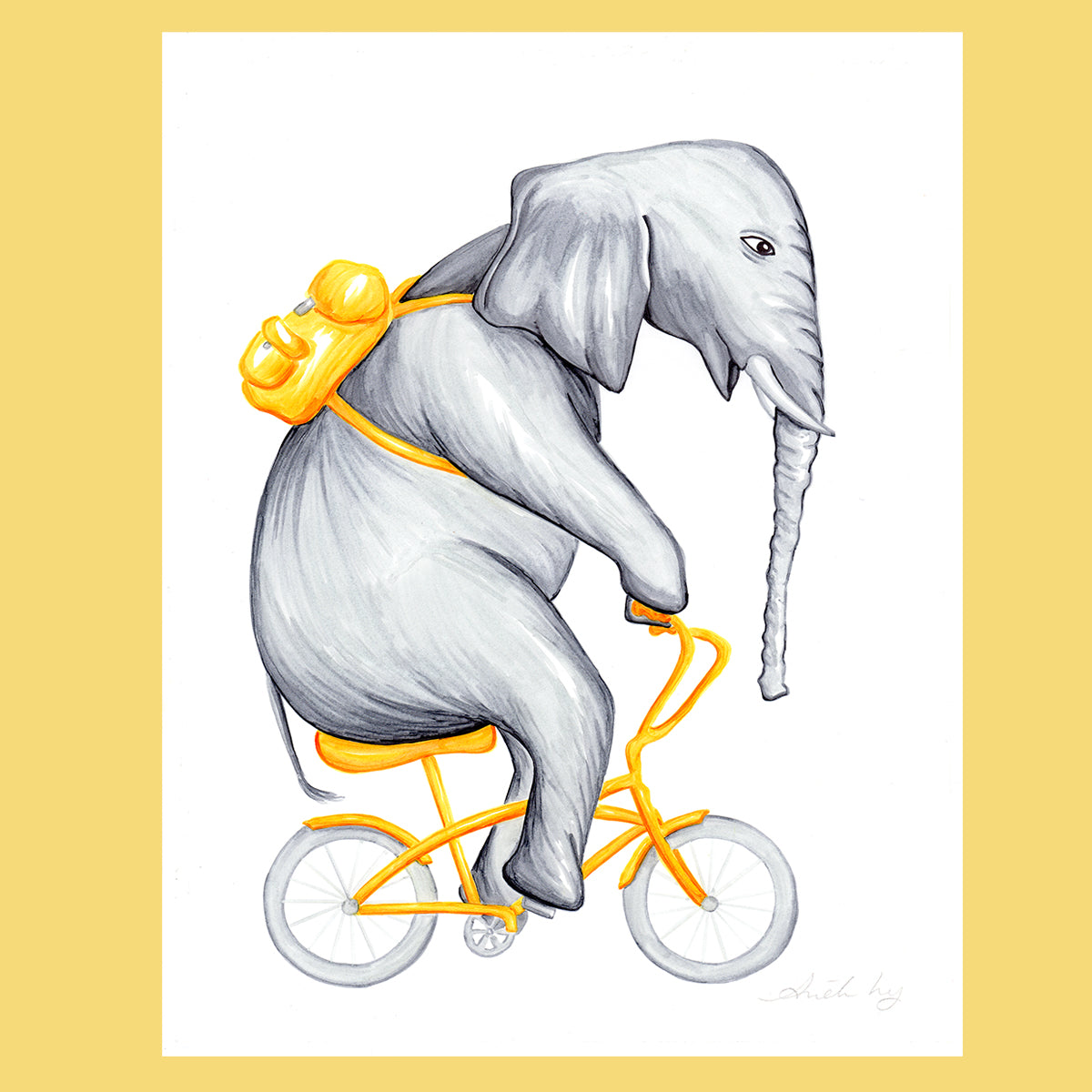 Elephant on a bike - Original Artwork, elephant illustration, Amelie Legault