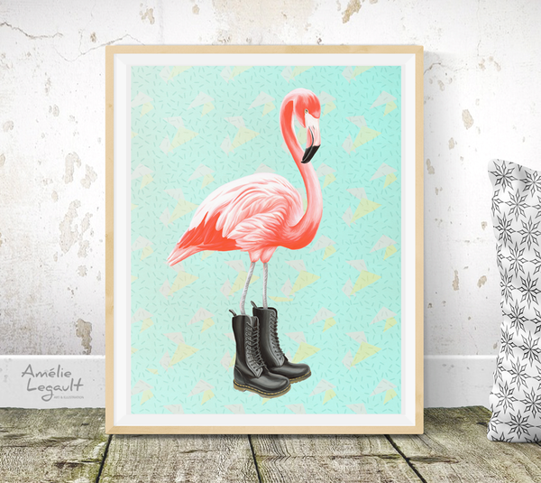 Affiche, flamant rose, Doc Martens, Décoration de flamant roses, illustration de flamants roses, amelie legault, illustration de doc martens