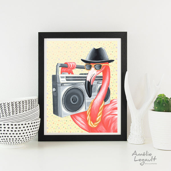 RUN DMC style, flamant rose, radio cassette, années 80, hip hop, rap, amelie legault, illustration, affiche