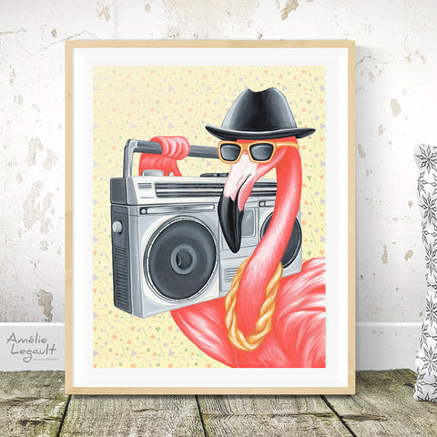 Flamingo art, flamingo illustration, flamingo art print, ghetto blaster, 1980S, boombox, run dmc, hip hip, rap, amelie legault