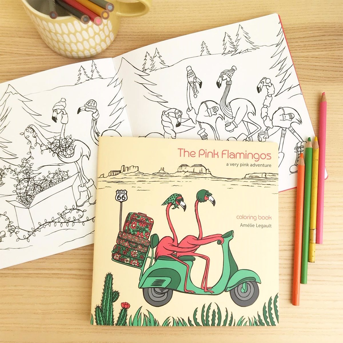 Pink flamingo coloring book, flamingo illustration, coloring for kids, coloring for adult, colouring book, Amelie legault, vespa, scooter, route 66, roadtrip, made in canada