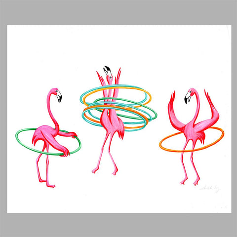 flamingo illustration, hula hoop, original artwork, amelie legault, flamingo art, flamingo love, flamingo decor
