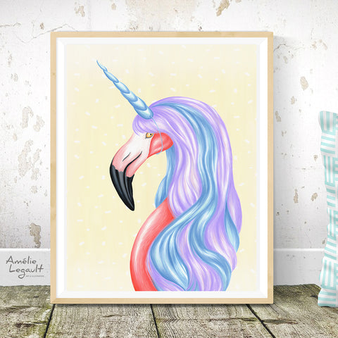 Flamingo Unicorn print