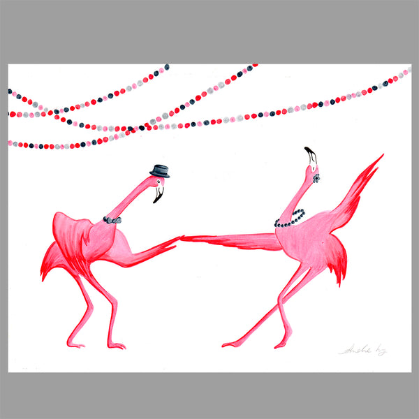 flamingo illustration, dance, amelie legault, original artwork, flamingo art, flamingo love, flamingo decor