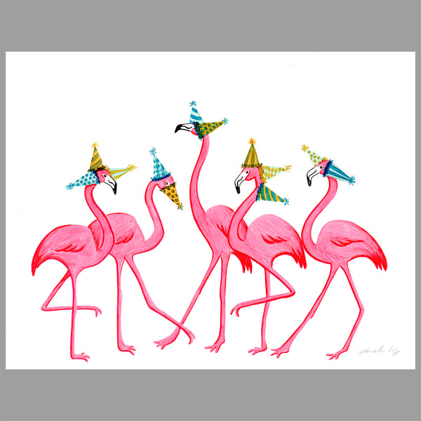 Flamingo illustration, original artwork, amelie legault, birthday party, flamingo love, flamingo decor, flamingo art