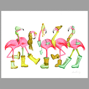 flamingo illustration, winter, original work, amelie legault, flamingo art, flamingo love, flamingo decor