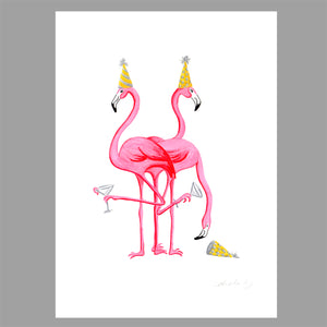 flamingo illustration, original artwork, amelie legault, party, flamingo love, flamingo art, flamingo decor