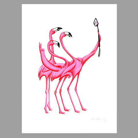 flamingo illustration, selfie, original artwork, amelie legault, flamingo art, flamingo love, flamingo decor